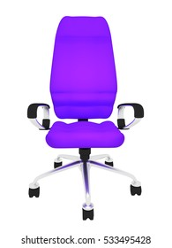 purple office chair on a white background 3d rendering