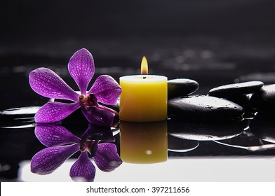 Purple orchid ,candle with therapy stones