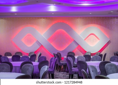 Purple ornament led light wall in restaurant