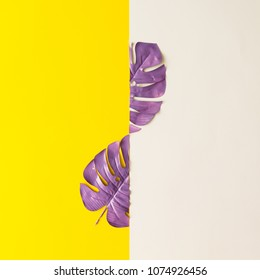 Purple painted tropical leaf on white and yellow background. Minimal summer exotic concept with copy space.