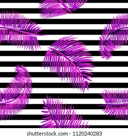 Purple palm leaves seamless pattern, on black and white striped background. Tropical texture for web and print design, cover, poster.