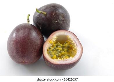 purple passion fruit isolated on white background