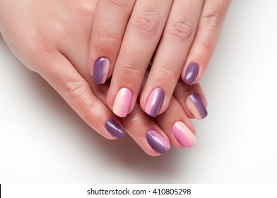 purple pink and beige manicure with a gradient