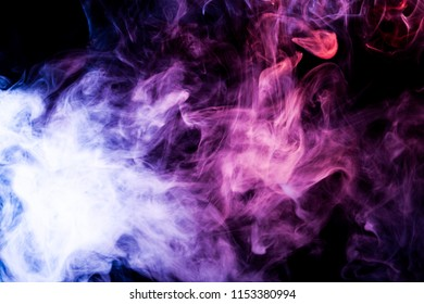 Purple, pink and blue cloud smoke on black  isolated background