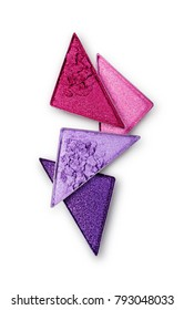 Purple and pink crushed triangle eye shadow for bright shiny make up as sample of cosmetic product isolated on white background