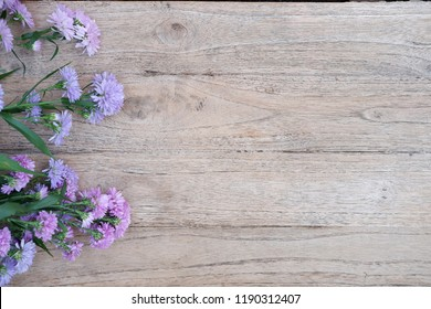 purple and pink flowers on old wooden background and copy space