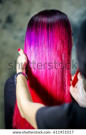 Purple Pink Ombre Hair Coloring Stock Photo Edit Now 611451017