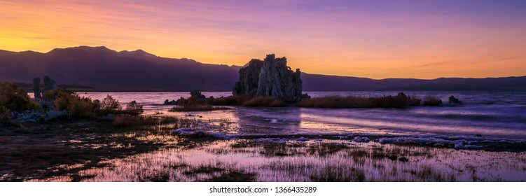 Purple and Pink Sunset Panorama at Mono Lake showing the Tufa Towers, Lee Vining, California
