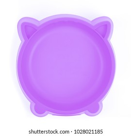 purple plastic bowl for pet food isolated on white background