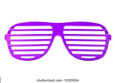 purple plastic shutter shades sunglasses isolated on white background