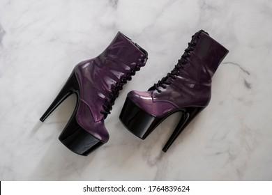 Purple pole dancing shoes. Stiletto high heels.