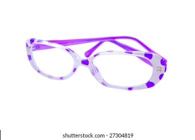 Purple polka dotted reading glasses isolated on white background