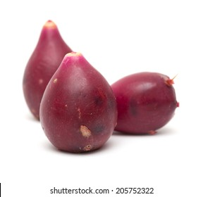 purple prickly pear fruit isolated on white