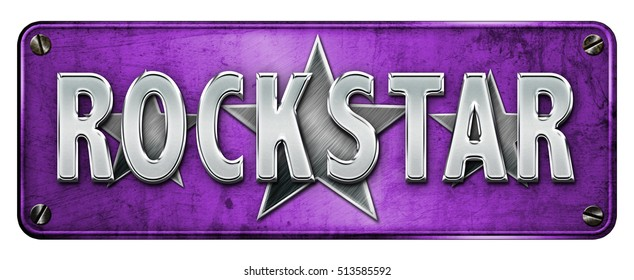 PURPLE Realistic Chrome/metallic 'ROCKSTAR' text on a banner or metal plate. Grunge Style (Not 3D Render)