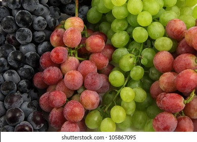 Purple, red and green grapes