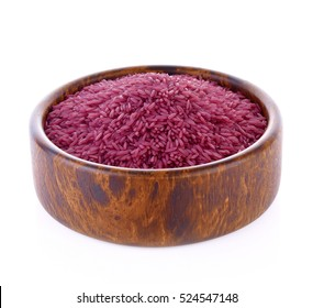 Purple  rice bowl wooden on white background