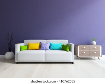 Purple room with sofa. Scandinavian interior.3d illustration