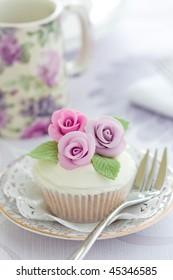 Purple rose cupcake
