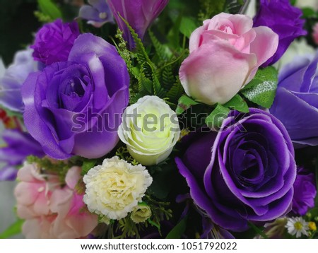 c4f3923673c Purple Rose Fake Flower Floral Background Stock Photo (Edit Now ...