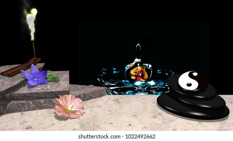 Purple and rose flower with orange leaf, stone slabs, incense sticks with glowing smoke, a pebble cairn with yin and yang symbol and in the background an orchid in blue water. 3d rendering