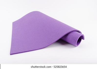 Purple rubber texture material of yoga mat for sport, fitness, exercise, gym and lifestyle equipment on white background.