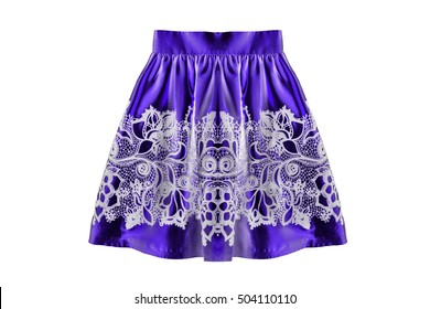 Purple satin skirt with white lace isolated over white