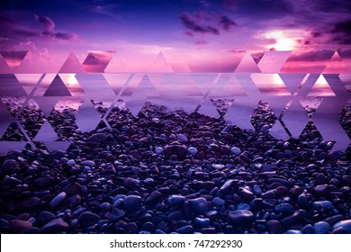 Purple sea sunset landscape background, abstract fractal composition of geometrical elements.