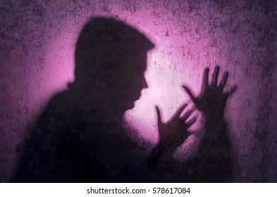 Purple Silhouette. Hands expressing emotions