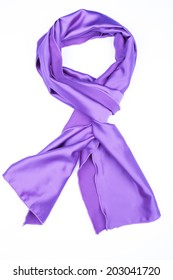 purple silk scarf isolated on white background