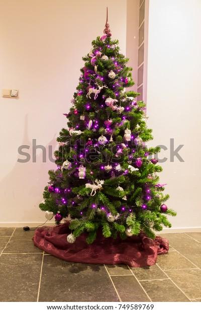 Purple Silver Christmastree Living Room Christmas Stock Photo Edit