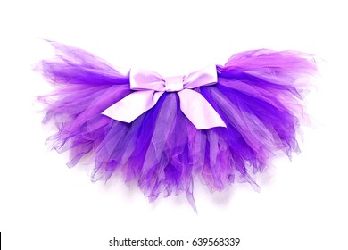 Purple skirt tutu with lilac bow on a white background.