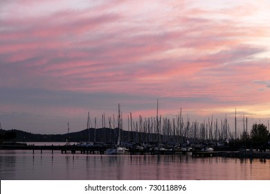 Purple sky over the sailboat harbor in Balatonfured, Hungary after sunset
