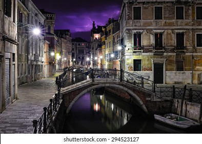Purple sky stormy night in Venice, Italy