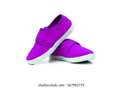 Purple slip on shoes isolated