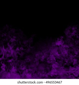 purple smoke abstract on black background, darkness concept. movement of smoke ink. Abstract design of purple powder cloud against dark background.