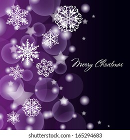 purple snow background with snowflakes and stars