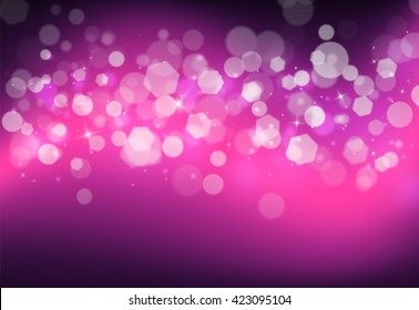 Purple sparkles glitter and rays lights bokeh abstract holiday background/texture.