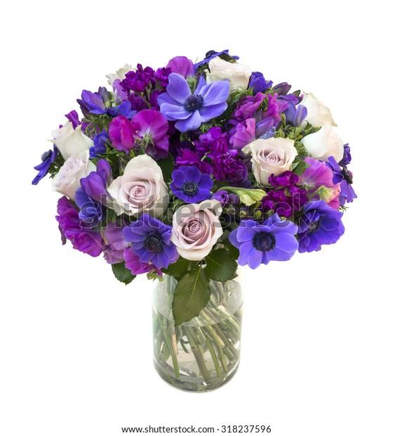 Purple Spring Flower Bouquet Glass Vase Stock Photo Edit Now 318237596