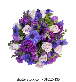 Purple spring flower bouquet - isolated background