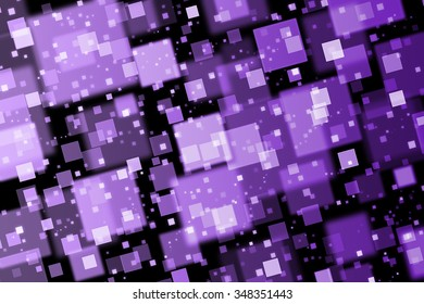 Purple squares. Abstract  background with bokeh effect