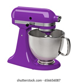 Purple stand / kitchen mixer isolated on white background including clipping path.