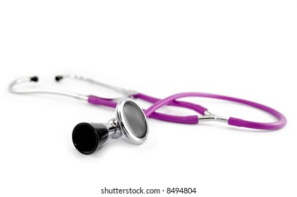 purple stethoscope isolated on white
