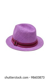 purple straw hat with ribbon isolated on white background