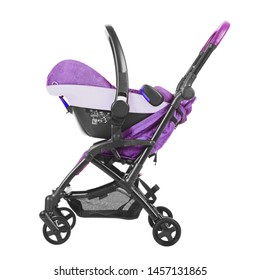 Purple Stroller Isolated on White Background. Infant Carriage Seat. Baby Travel System with Showerpro of Hood. Side View of Pram with Carry Cot. Pushchair with Canopy