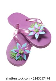 purple summer flipflops