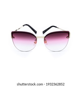 Purple sunglasses, front view isolated on white background