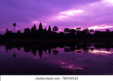 a purple sunrise at angkor wat