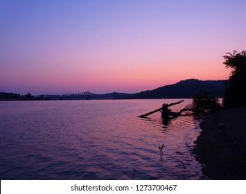 Purple sunrise on lake