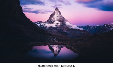 Purple sunrise at Swiss Alps, Matterhorn, Switzerland