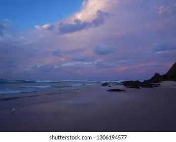 Purple sunset on Wategos Beach - Byron Bay